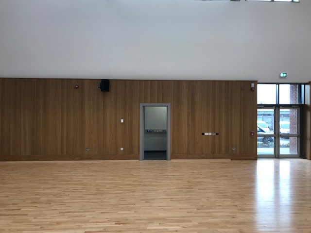 Acoustic wall panels installed in school.